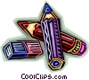 pencils and erasers Vector Clipart image