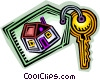 Vector Clip Art image  of a new home key