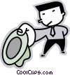 businessman tipping his hat Vector Clip Art image