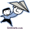 Vector Clipart graphic  of a boy with a paper airplane