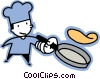 Vector Clip Art image  of a chef flipping a pancake