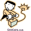 Vector Clipart image  of a man detonating dynamite