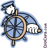 Vector Clip Art image  of a captain at the helm