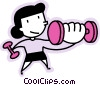 Vector Clipart graphic  of a girl lifting weights
