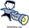 man with a flashlight Vector Clipart graphic