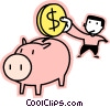 Vector Clip Art image  of a man putting money in his piggy