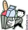Vector Clipart image  of a Man walking with groceries