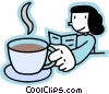 Vector Clipart graphic  of a reading the newspaper with coffee