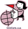 woman placing a flag on a globe Vector Clip Art image