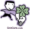 Vector Clip Art picture  of a man holding a four leaf clover