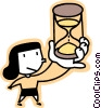 Vector Clipart picture  of a woman holding an hourglass