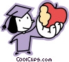 Vector Clipart illustration  of a graduate holding up an apple