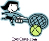 Female tennis player Vector Clipart graphic