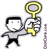 Vector Clip Art graphic  of a man holding a key