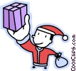 Vector Clipart image  of a Santa with a present