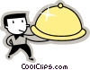 Vector Clipart graphic  of a waiter carrying a tray
