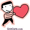 Vector Clip Art graphic  of a man with a valentines day card