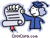 Vector Clip Art picture  of a graduate showing her diploma
