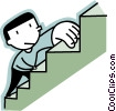 Vector Clip Art picture  of a man climbing stairs