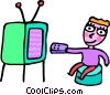 Boy changing channels on the TV Vector Clipart image
