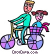 Father and daughter out for a bike ride Vector Clip Art graphic