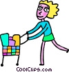 Woman grocery shopping Vector Clipart illustration