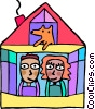 Family in their house with their dog Vector Clipart picture