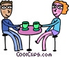 Couple having coffee Vector Clipart illustration