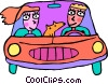 Family driving with their dog Vector Clipart picture