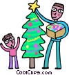 father and son decorating a Christmas tree Vector Clipart graphic