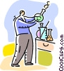 Scientist with beaker Vector Clip Art image