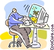 Businessman working at computer Vector Clipart picture