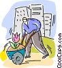 Man with wheelbarrow and flower Vector Clip Art picture