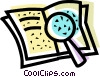 Vector Clipart illustration  of a book and a magnifying glass