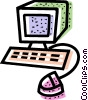 Vector Clip Art graphic  of a computer desktop system
