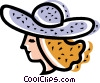 Vector Clipart graphic  of a woman wearing a summer hat