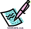 fountain pen and paper Vector Clip Art graphic