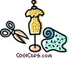 Scissors, fabric and mannequin Vector Clipart graphic