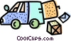 Courier truck and package Vector Clipart picture
