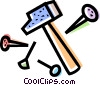 Hammer with nails and tacks Vector Clip Art graphic
