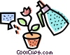 Vector Clipart picture  of a Potted Plants and Flowers