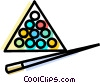 billiards balls and pool cues Vector Clip Art image