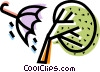 Wind blowing over umbrella and tree Vector Clipart illustration