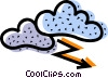 Vector Clip Art graphic  of a Clouds and Lightning