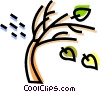 Wind blowing leaves from tree Vector Clipart illustration