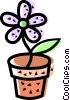 Vector Clipart graphic  of a Potted Plants and Flowers