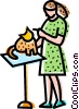 Veterinarian with a cat Vector Clip Art picture