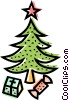 Christmas tree with gifts underneath Vector Clipart picture