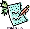Vector Clipart illustration  of a pen and paper