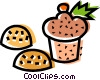 Vector Clipart picture  of a muffin and cookies